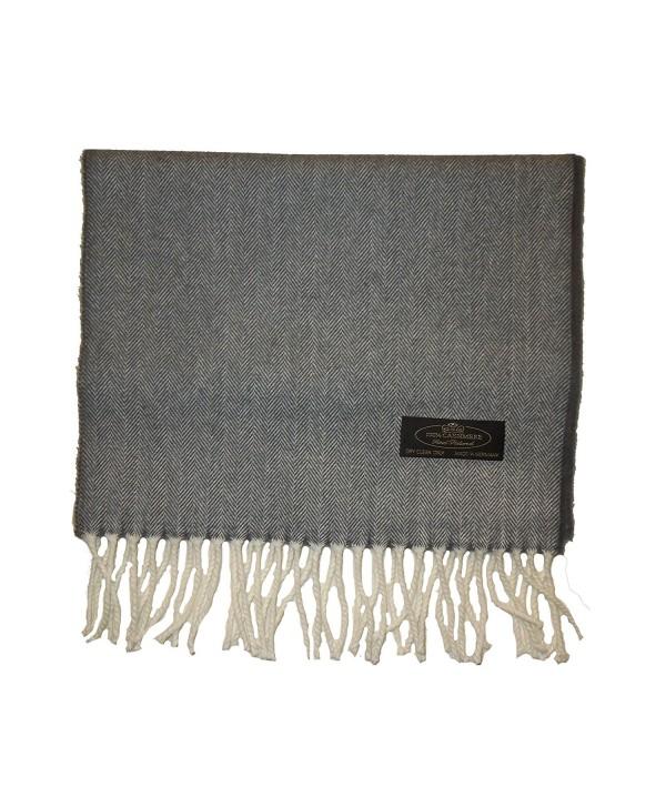 Handmade 100% Cashmere Scarf- Blanket Scarf- Shawl - Grey - CT187O6C6DY