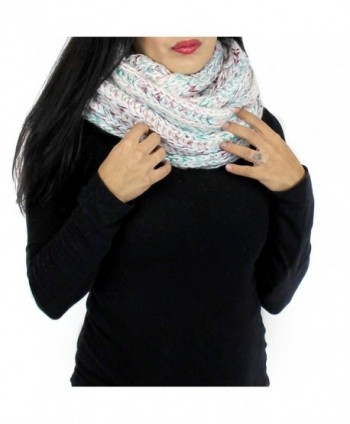Chunky Knitted Infinity Scarf Blended Pastel Color - Green - CP125VM1WWD