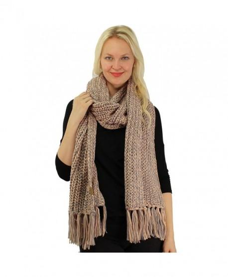 CC 2tone Mix Knit Soft Super Chunky Thick Long Big Large Cowl Fringe Scarf - Rose - CI186AZC4GN