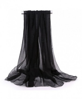 New Women's Solid Shawl Wrap Scarves Long Wraps Summer Beach Silk Scarf Gift for Mun Girls - Black - CT1885UNR30