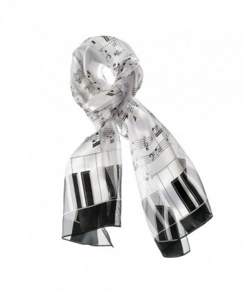 Music Note Scarf with Piano Key Edge (White) - C8182IWR79I