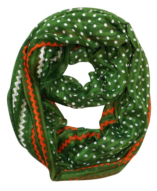 Peach Couture Chic Polka Dot And Chevron Sheer Infinity Loop Scarf - Green - CI11UQATOHF