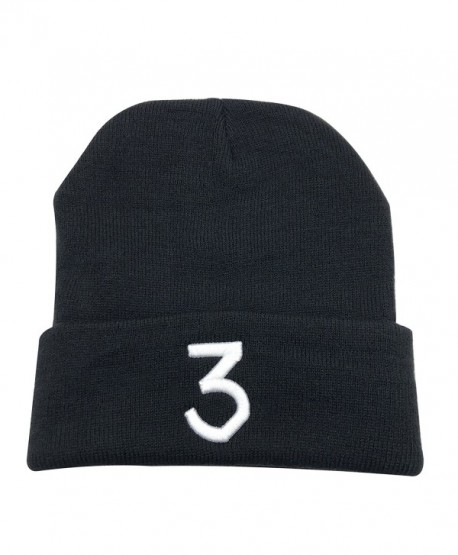 Chance 3 Wang Warm Winter Hat Knit Beanie Skull Cap Embroidered Soft Headwear Unisex - Black - C21880C2T0A