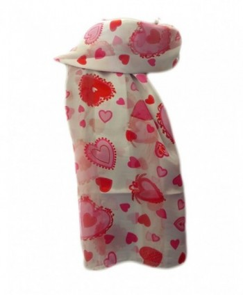 New Company Womens Valentines Day Hearts Scarf - White - One Size - CR11IUGECD9