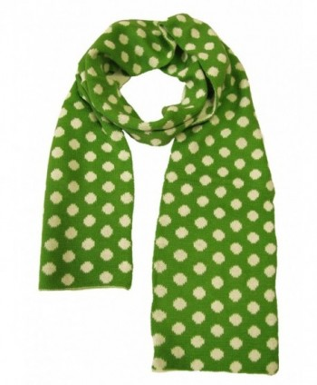 Couver Womens Ladies Dots Long Warm Winter Reversible Scarves - Lime Green / White - CX11TBB94N5