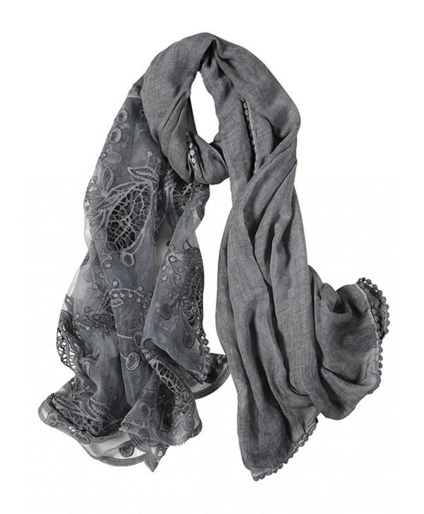 GERINLY Chic Openwork Lace Splice Cozy Scarf For Women Wrap Shawl - Gray - CN188USCDXA