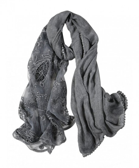 GERINLY Chic Openwork Lace Splice Cozy Scarf For Women Wrap Shawl - Gray - CN188USCDXA