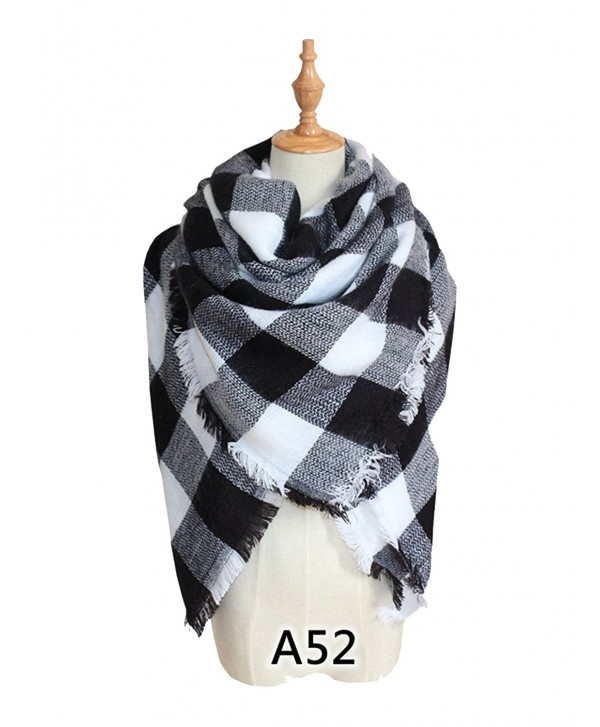 YOUNG RONG Women's Stylish Warm Blanket Long Scarves Grid Winter Large Scarf - A52 - CV186UKGZAL