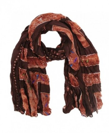 Exotic Jewel Print Light Scarf - Brown - C31185QWDL7