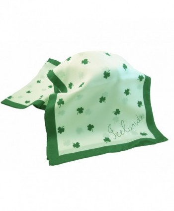 Shamrock Scarf 10?x 52 Green & White Polyester Made in Ireland - C9116JYYLF3