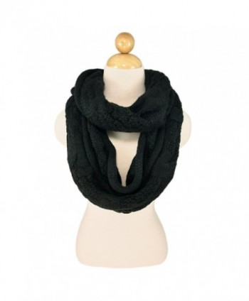 TrendsBlue Premium Winter Thick Infinity Twist Cable Knit Scarf - Diff Colors Avail. - Black - CV110FP0SV3