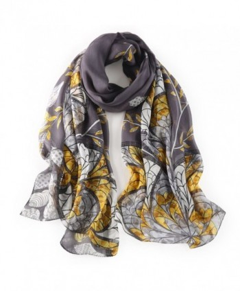 STORY OF SHANGHAI Womens 100% Mulberry Silk Head Scarf For Hair Ladies Floral Scarf - Dark Gray - CE182HSC4Q9
