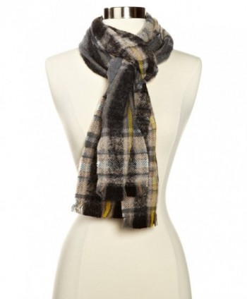 Echo Women's M-Soft Boucle Plaid Woven Scarf - Black - CM11ESB54O1
