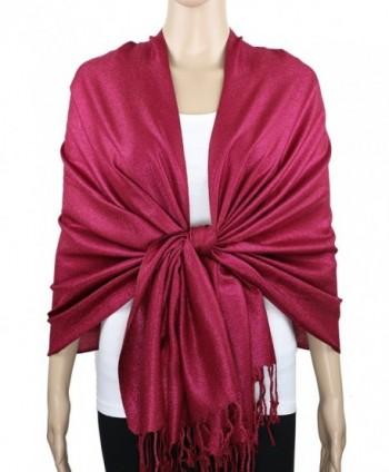Achillea Sparkling Metallic Evening Shawl Wrap Scarf for Wedding Prom Party Dress - Dark Rose - CU18C4CWK0R