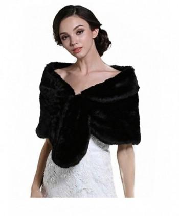 Aukmla Wedding Fur Wraps Shawls for Women with Clasps - Black - C6185THG0UG