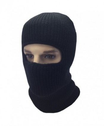 Mens Black Knit Thermal Face Ski Mask - 1 Hole - CW12O1848AP