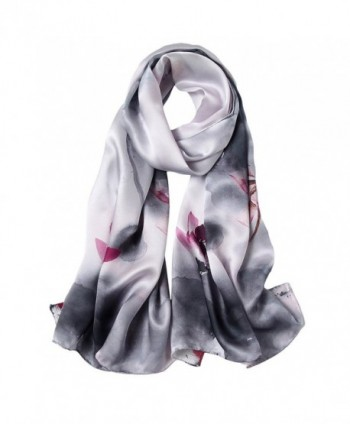 STORY OF SHANGHAI Womens Luxury Silk Satin Scarf Ladies Floral Shawl Wraps - 6 - CX186QC600D