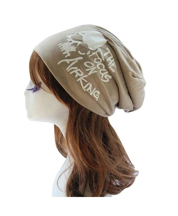 Aivtalk Unisex Ski Hat Wrinkle Knit Crochet Hat Slouch Beanie Cap Beret - Khaki - CO126P63NTT