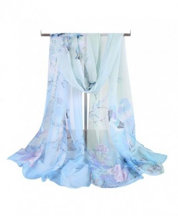 Tuscom Women Chiffon Animal Bird printed Scarves Wrap Shawl(160&times50CM) - Light Blue - C812O642DOC