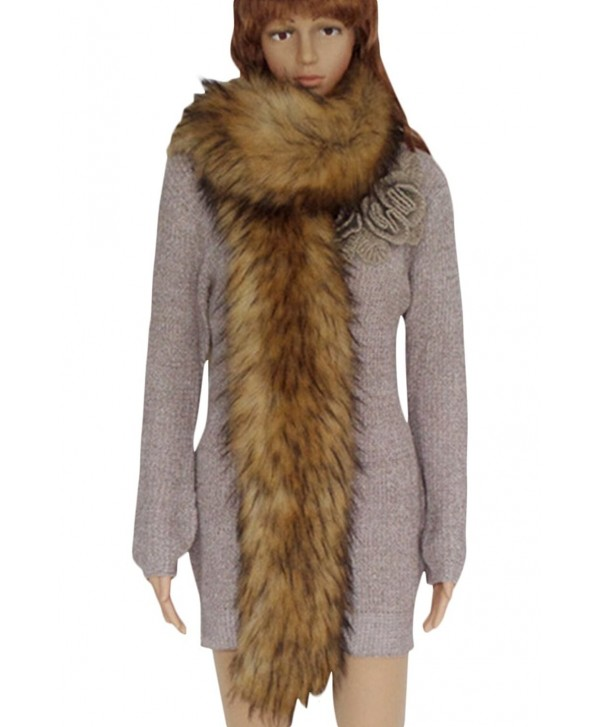 VamJump Women Winter Warm Faux Fox Raccoon Fur Collar Long Scarf - Kahki - CV127Z34O1H
