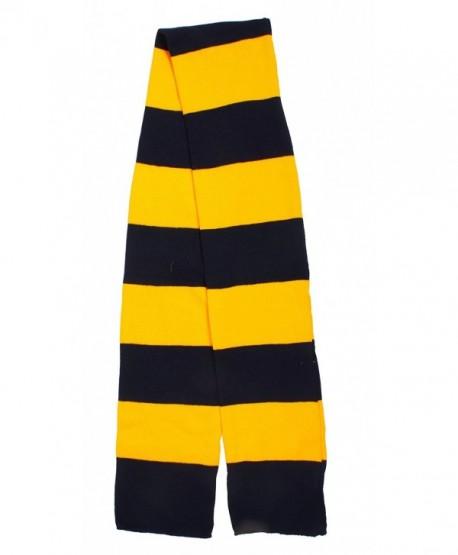 Long Acrylic Knitted Scarf for Men/Women Winter Stripe Neck Warmer Scarf - Navy/Gold - CR11HV66WFP