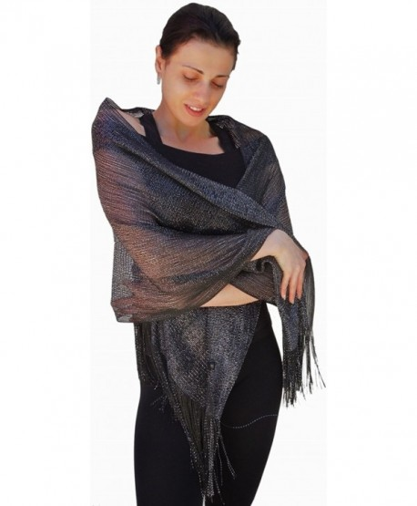 Sheer-Delights Fringed Mesh Evening Wrap Shawl for Prom Wedding Formal - Black/Silver - C411CRKV5XJ
