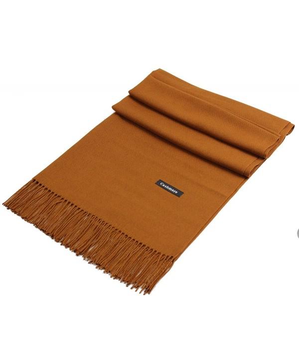 "JAKY Global Cashmere Scarf Pashminas Wraps Shawl Super Soft Warm 78"" x 27"" Scarves Women Men - Dark Camel - CD188GOUH4X"