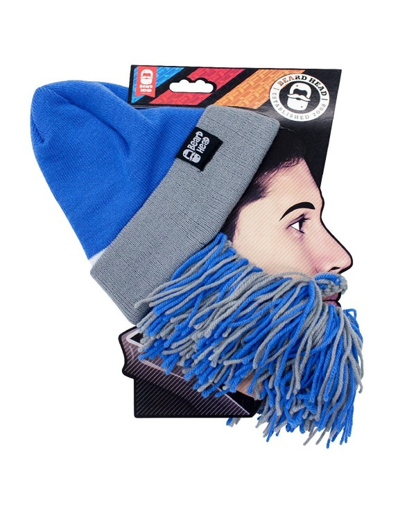 Beard Head Tailgate Series Knit Beanie w/ Beard Hat - Light Blue & Grey - CB12LC6Y3N7