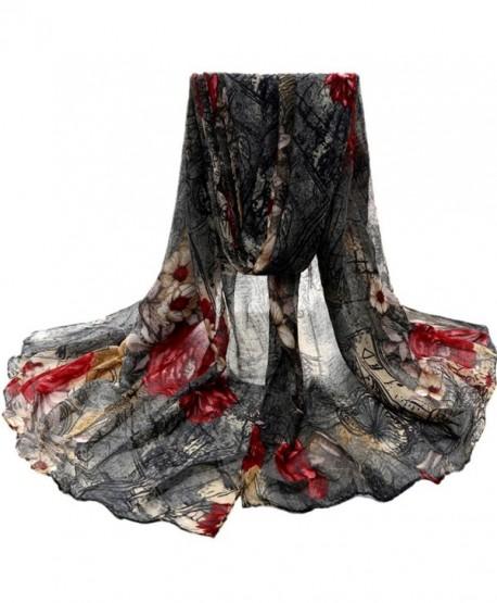 Auwer Women's Beautiful Mixed Color Voile Stole Scarves Long Neck Wraps Shawl Scarf - Black - CN1896TUOR7