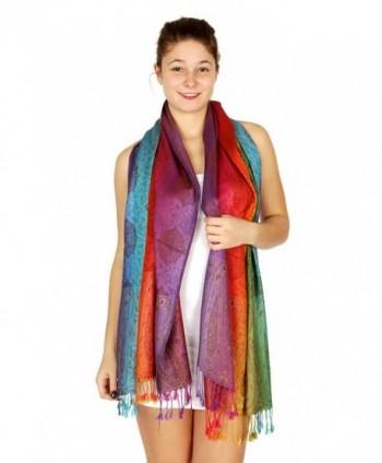SERENITA Multi color Rainbow Pashmina in Wraps & Pashminas