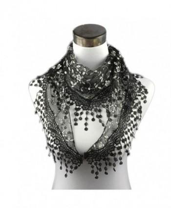 DEESEE(TM) Lace Tassel Sheer Burntout Floral Print Triangle Mantilla Scarf Shawl - Black - CI12MAT8T3U