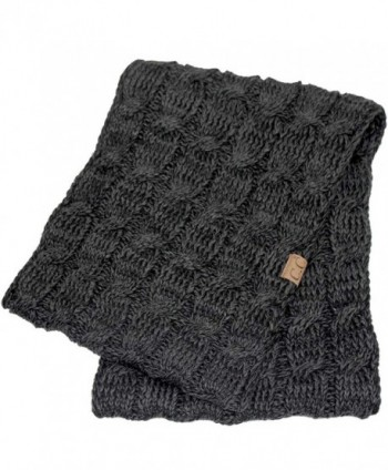 Hatsandscarf CC Exclusives Multi Color Cable Kint Infinity Scarf (SF-6242) - Black/Grey - CQ12O2ICT9T