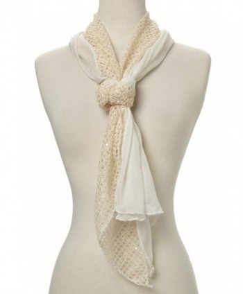 Women Lightweight Soft Sequin Crochet Triangle Scarf - Cream - CK12GSB1BOZ