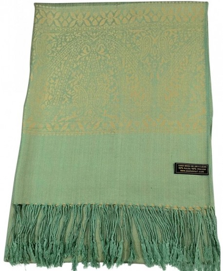 CJ Apparel Paisley Pattern Design Shawl Pashmina Scarf Wrap Stole Throw Seconds NEW - Green & Gold - CG1267RUX71