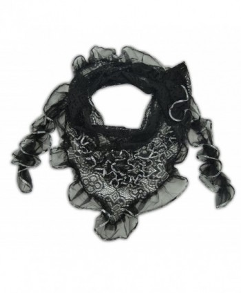 Metallic Sheer Triangle Scarf - Black - CF11HBBTTJL