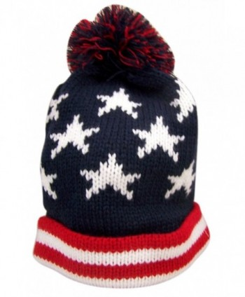 Red White and Blue Patriotic American Flag Knit Cuffed Beanie Hat - CS183GL77WO