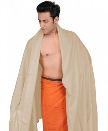 Exotic India Plain Men's Dushala from Amritsar (Lohi) - Parchment - CV1883XZ0AT