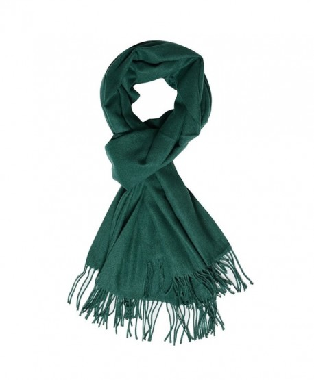QBSM Womens Large Soft Scarf Solid Winter Pashmina Cashmere Feel Shawl Wraps for Women Girls - Dark Green - CH186L790MR