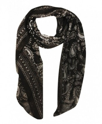 Peach Couture Simple & Classic Lightweight Paisley Design Scarves (Many Colors) - Brown - C41290N7XWR