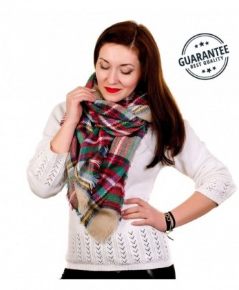 Women Plaid Blanket Tartan Wrap Stylish Warm Pashmina Scarfs for Women Oversized Shawl Cape Poncho NON-ITCHY - C8189RHE9UT