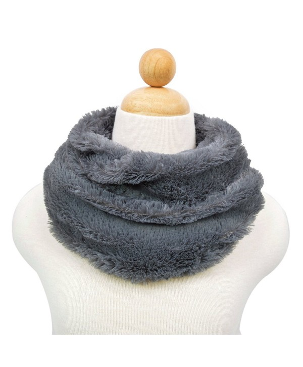 Premium Soft Small Faux Fur Solid Color Warm Infinity Circle Scarf - Diff Colors - Grey - C5124AKCTFF