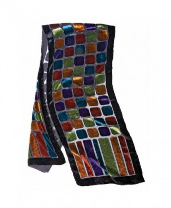 Women's Fashion Scarf - Stained Glass Velvet Scarf with Black Border - C312O39PXCK