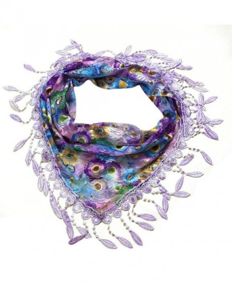Tuscom Lace Tassel Sheer Burntout Triangle Mantilla Scarf Shawl(140&times50CM) - Purple - CR12NTLVXP8