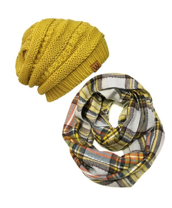 Wrapables Plaid Print Winter Infinity Scarf and Beanie Hat Set- Tan and Orange - CZ12O0U7AYX