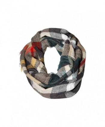 Beige Multi Plaid & Tartan Infinity Scarf Funky Monkey Fashion Warm Cozy Scarves - C71874WNA2G