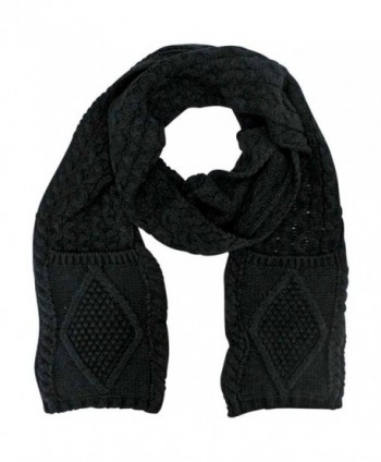 Classic Knit Unisex Winter Scarf With Pockets - Black - CY110FSECET