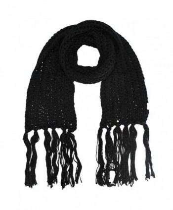 Thick Knit Long Winter Scarf With Fringe - Black - CD1158F4PFF