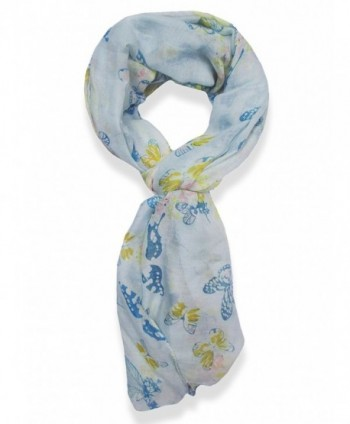 V28 Womens Colorful Printed Butterflies Fashion Scarf - Blue - CT11M89XRF3