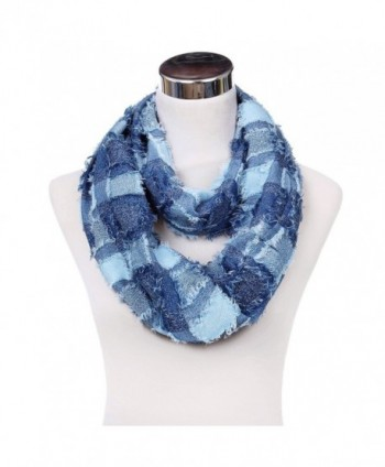 Premium Plaid Stitched Jean Infinity Loop Circle Scarf - Diff Colors - Blue - CM128OHFDEF