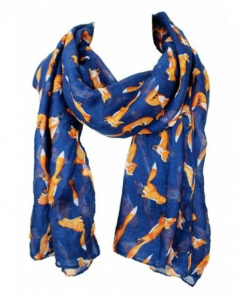 Euter Women Soft Scarf Foxes Print Pattern Scarves Shawl Wrap Gift for Her - Blue - CE187KLGDGZ
